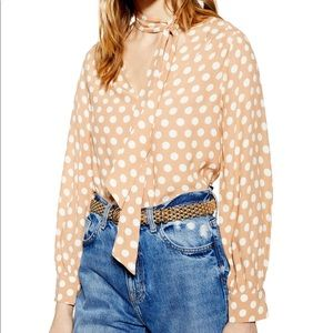 NWT Topshop Polka-Dotted Blouse